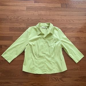 Apt. 9 lime green stretch button down shirt Top 3/4 sleeves Large Petite